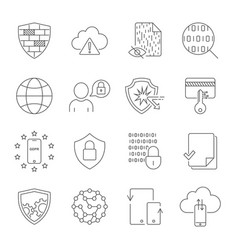 Data protection icons line icons set vector