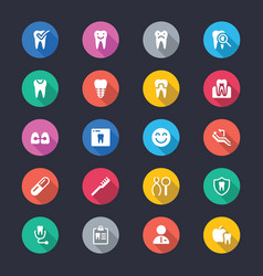 dental simple color icons vector image