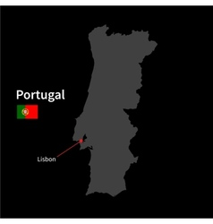 Detailed map portugal and capital city lisbon vector