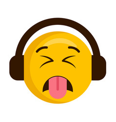 Disgusted emoji with headphones icon vector