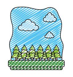 Doodle exotic trees ecology preserve landscape vector
