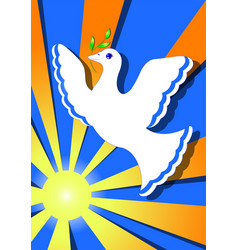 Dove of peace in the sun vector