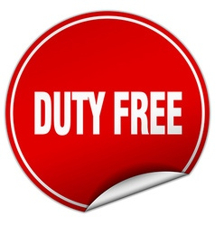 Duty free round red sticker isolated on white vector