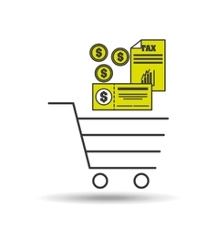 E-commerce cart shop tax pay icon vector