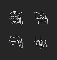 Face care chalk white icons set on black vector