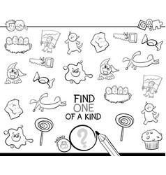 Find one picture of a kind coloring page vector