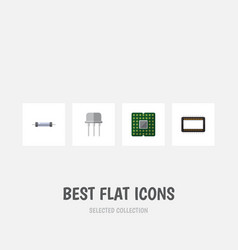 flat icon electronics set of mainframe resistor vector image