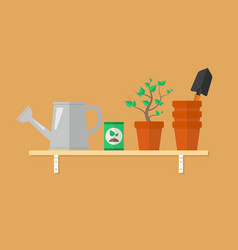 gardening tools and products on a wooden shelf vector image
