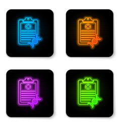 glowing neon clipboard with dna analysis icon vector image