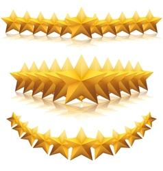 Gold five-pointed premium stars vector image