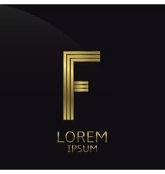 Golden F Letter vector image