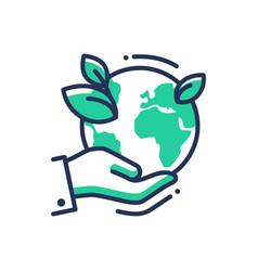 green earth - modern single line icon vector image