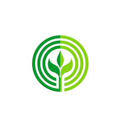 Green leaf round seed organic logo vector