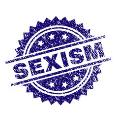 Grunge textured sexism stamp seal vector