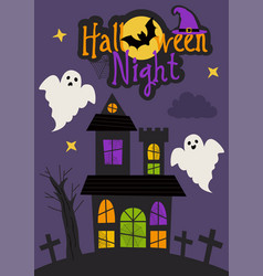 Halloween night card design with castle and ghosts vector