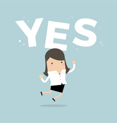 Happy businesswoman jumping with word yes vector