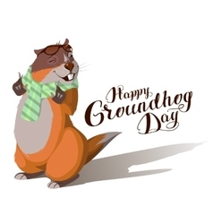 Happy Groundhog Day Marmot casts shadow vector image