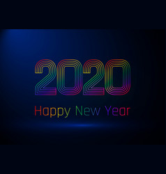 Happy new year poster colorful gradient lines vector