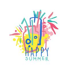 happy summer logo colorful hand drawn vector image