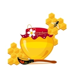 Honey Jar Spoon And Honeycombs With Bee Cartoon vector