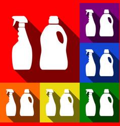household chemical bottles sign set of vector image