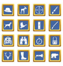 Hunting icons set blue vector