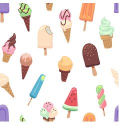 Ice cream pattern seamless print with frozen vector