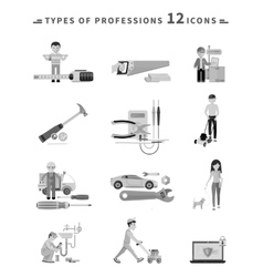 Icons Set of Tools Series Black on White vector image