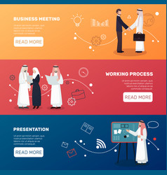 Islamic people business banners vector