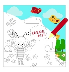 Kid in buttefly dress coloring page vector