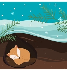 Let it snow fox sleeping in the hole vector