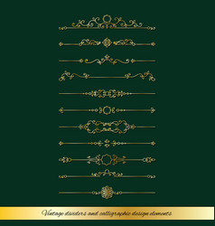 lixury golden dividers and page decoration set vector image