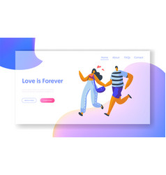 love couple character run landing page template vector image