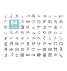Music flat icon set vector