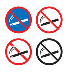 no smoking signs smoking is prohibited icon set vector image