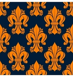 Orange victorian fleur-de-lis seamless pattern vector image