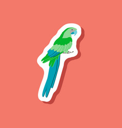 Parrot paper sticker on stylish background vector