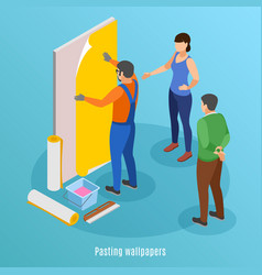 Pasting wallpaper isometric background vector