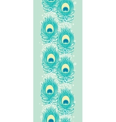 Peacock feathers vertical seamless pattern border vector image