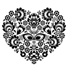 Polish folk art heart pattern in black - wycinanka vector