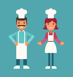 Profession Concept Cook Male and Female Cartoon vector image vector image