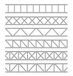 Realistic detailed 3d steel truss girder elements vector