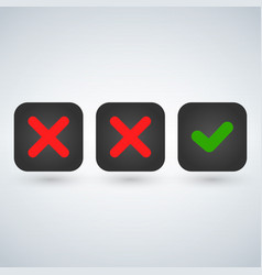 red x symbol icon and green checkmark isolated vector image