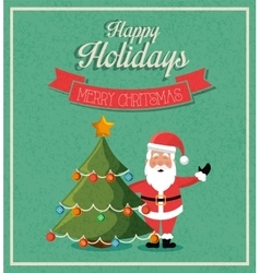 santa claus merry christmas card isolated design vector image