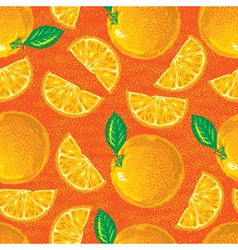 seamless pattern of cartoon oranges vector image