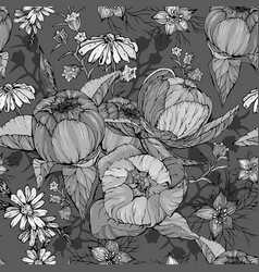 seamless pattern with hand drawn peony and vector image
