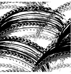 seamless tire tracks pattern vector image