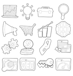 Seo icons set outline cartoon style vector