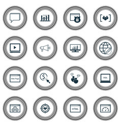 seo icons set with focus group display vector image