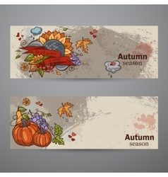 Set horizontal banners colored autumn doodle vector